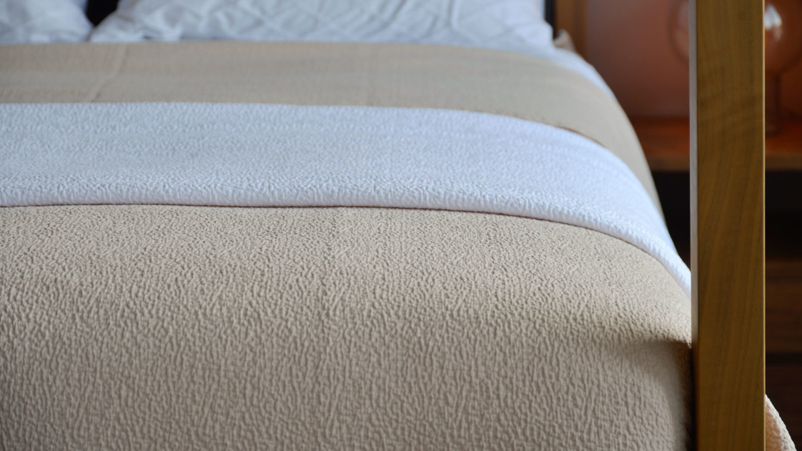 Bedspreads With Dappled Texture - Lightweight textured bedspreads in white or shell peach