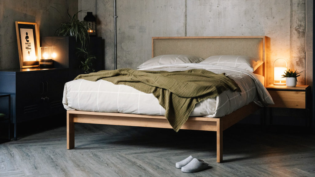 Shetland hand made wooden bed in cherry, with headboard upholstered in Parquet Hessian