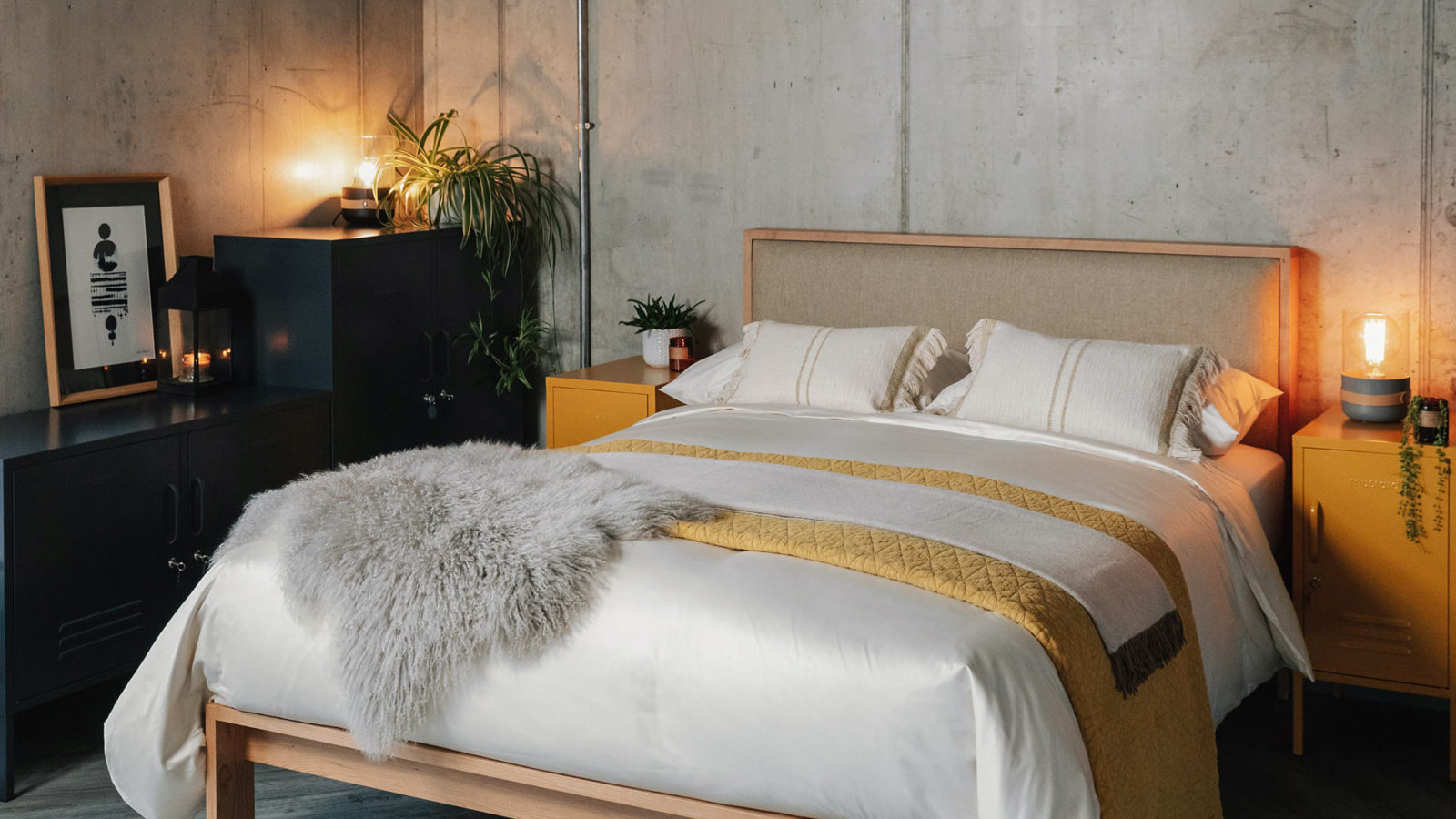 Winter bedroom look with Shetland contemporary wooden bed hand made by natural bed company