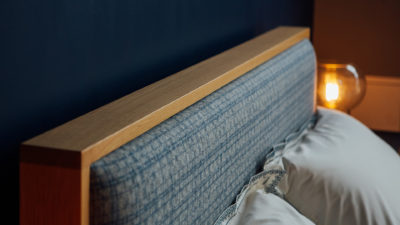 shetland-headboard-detail-patterned-wool-fabric