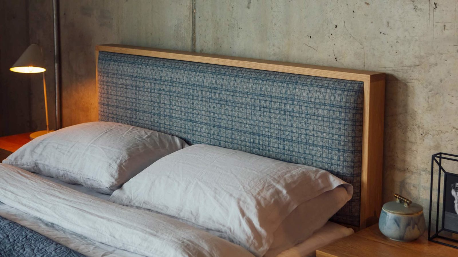 A choice of wool fabrics can be used for the padded headboard of our wooden Shetland bed