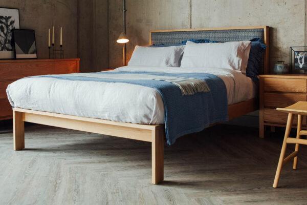 shetland-pure-wool-headboard-blue-&-grey & blacklotus 3 drawer