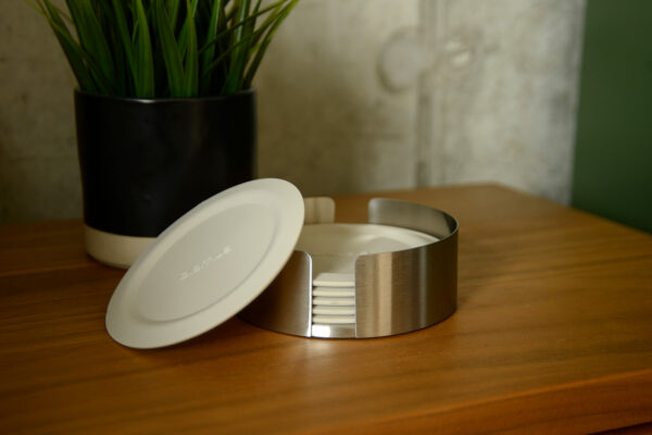 ivory silicone coaster set in stainless steel holder