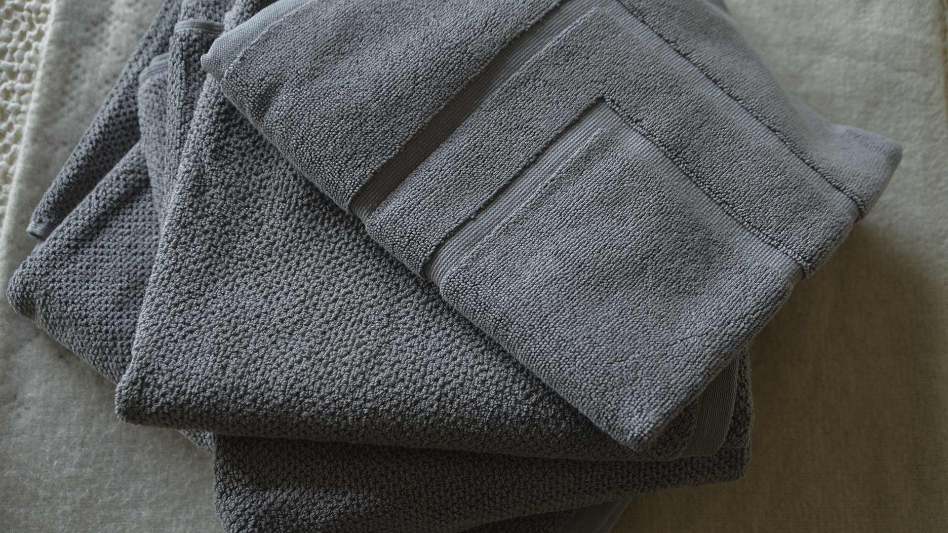 Steel Grey Textured Cotton Towels Bath Mat Natural Bed Company