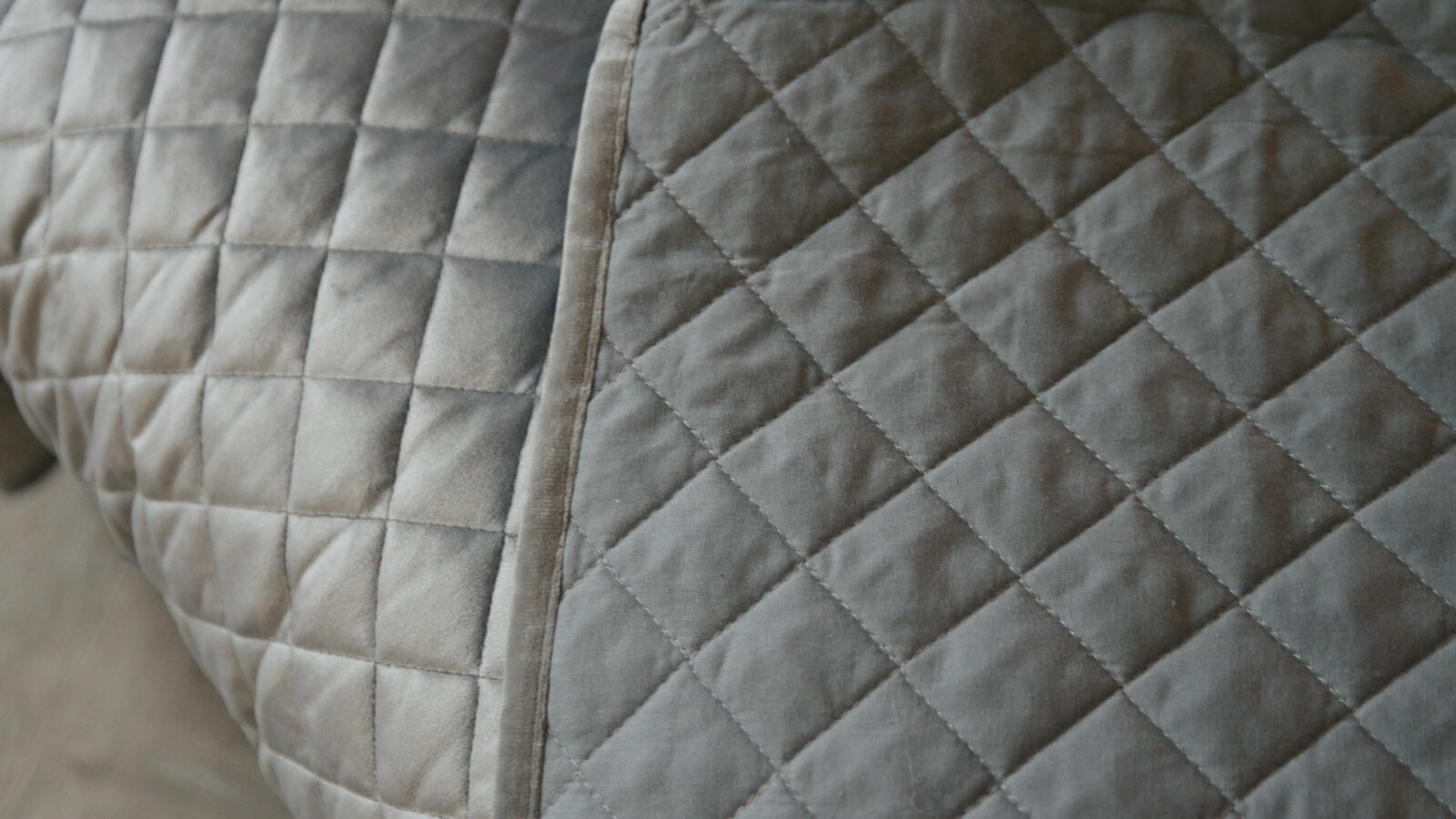 Silver grey velvet look quilted and reversible bedspread a closer view