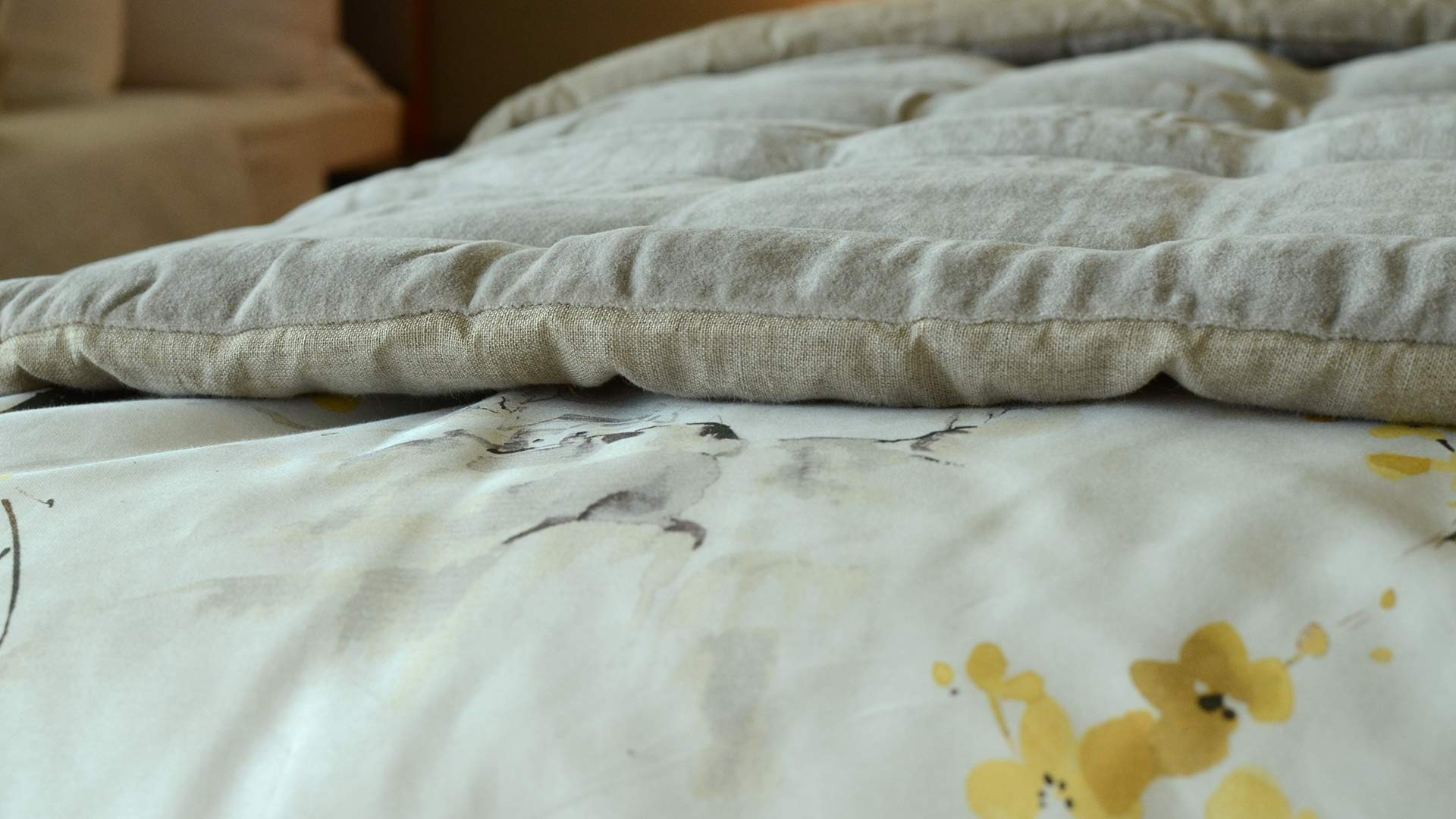 Velvet Reversible Quilt Silver Grey Natural Bed Company