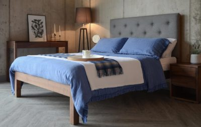 skye bed with blue linen bedding