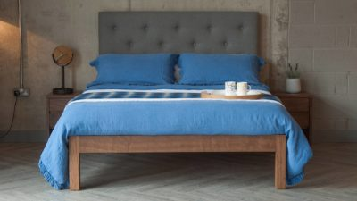 skye bed with tall upholstered heaboard blue linen