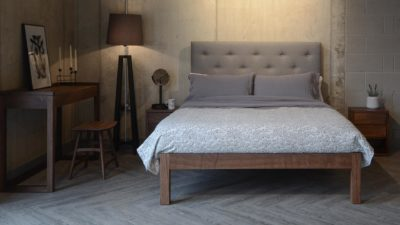 skye bed with with walnut bedroom furniture