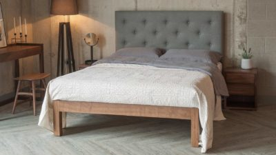 skye upholstered bed with tall buttoned headboard