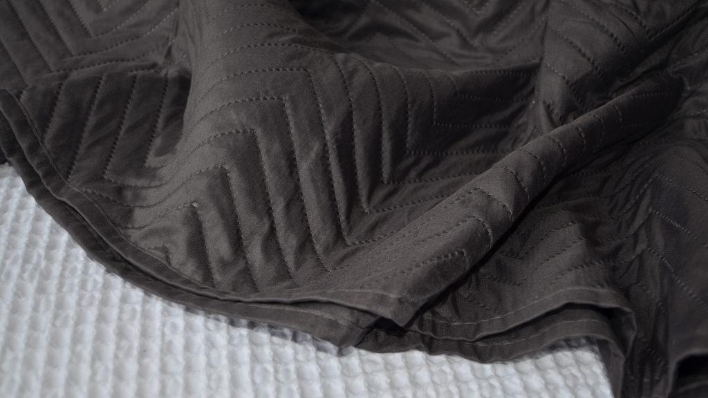 slate bedspread chevron pattern close up