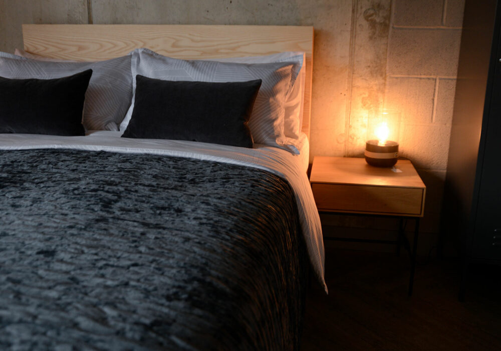 dark grey crushed velvet bedspread