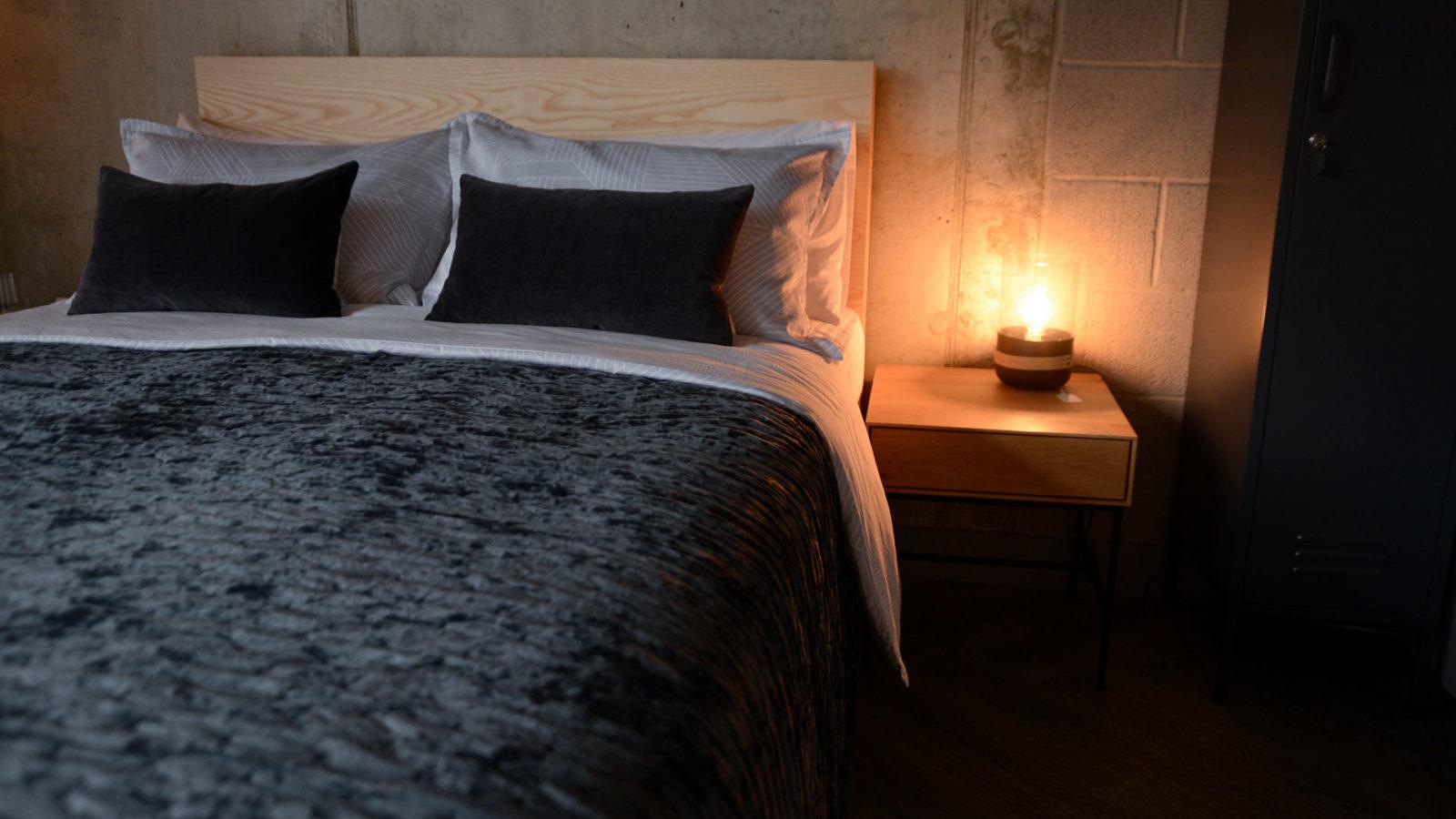 dark grey bedspread