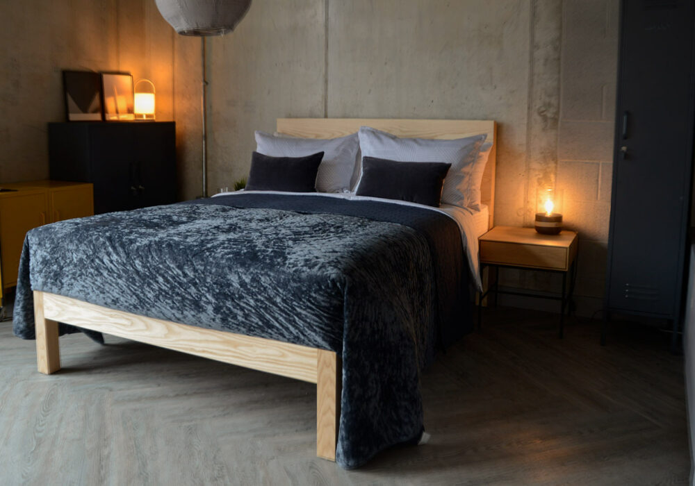 luxurious crushed velvet bed cover in inky blue/grey