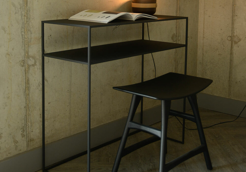 metal console table with shelf in dark slate grey