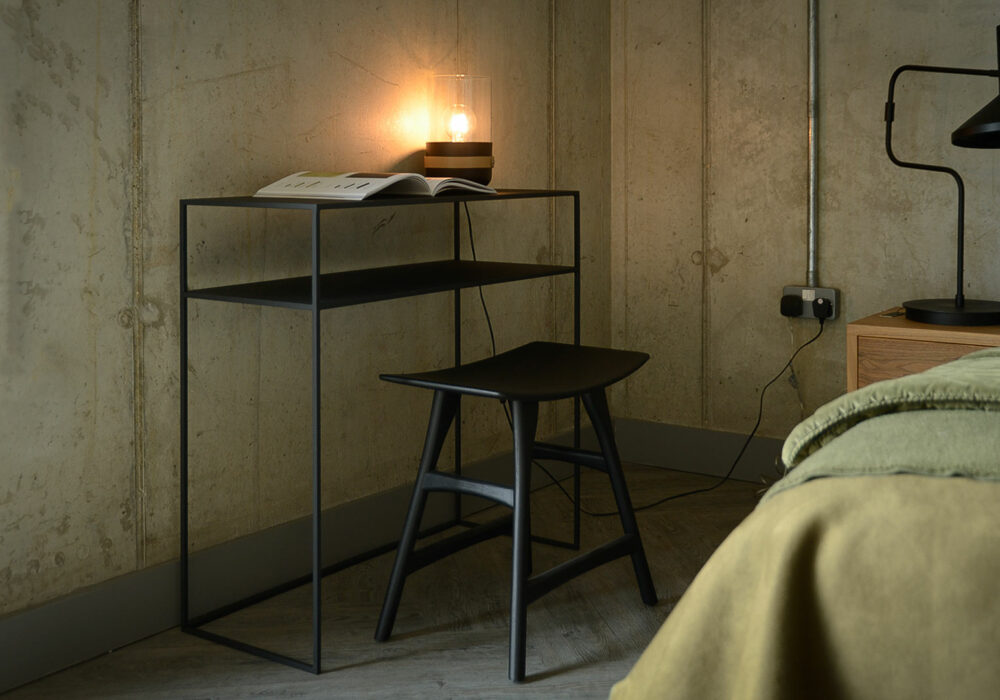 powder coated console table with shelf in dark slate grey