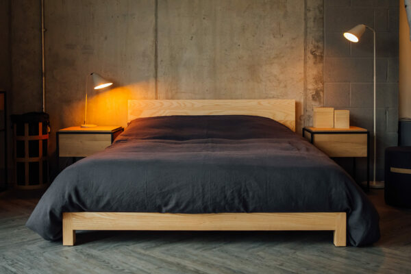 Scandinavian style slate linen bedding on our pale ash low wooden Sonora bed