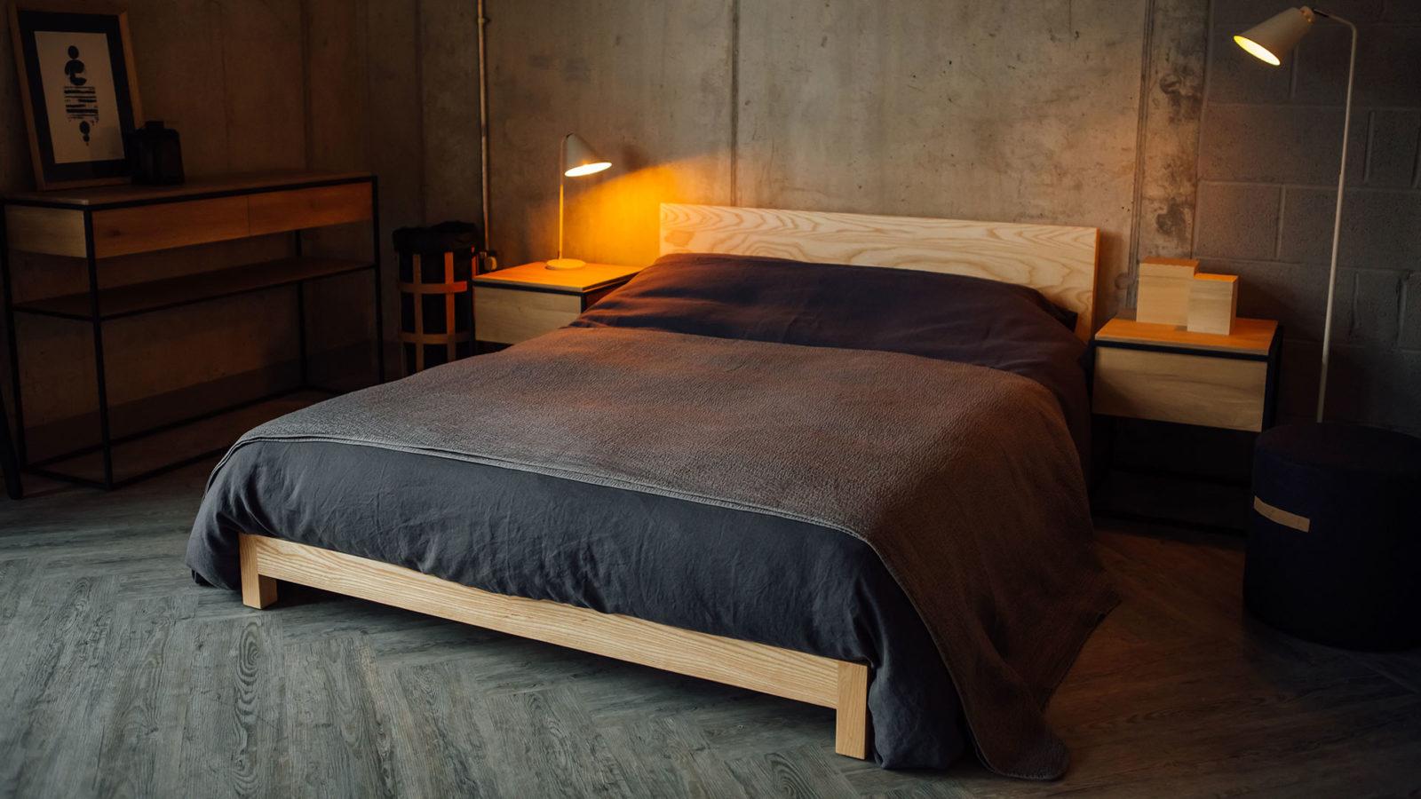 Slate Linen Bedding with dark grey diamond texture quilt on Sonora bed