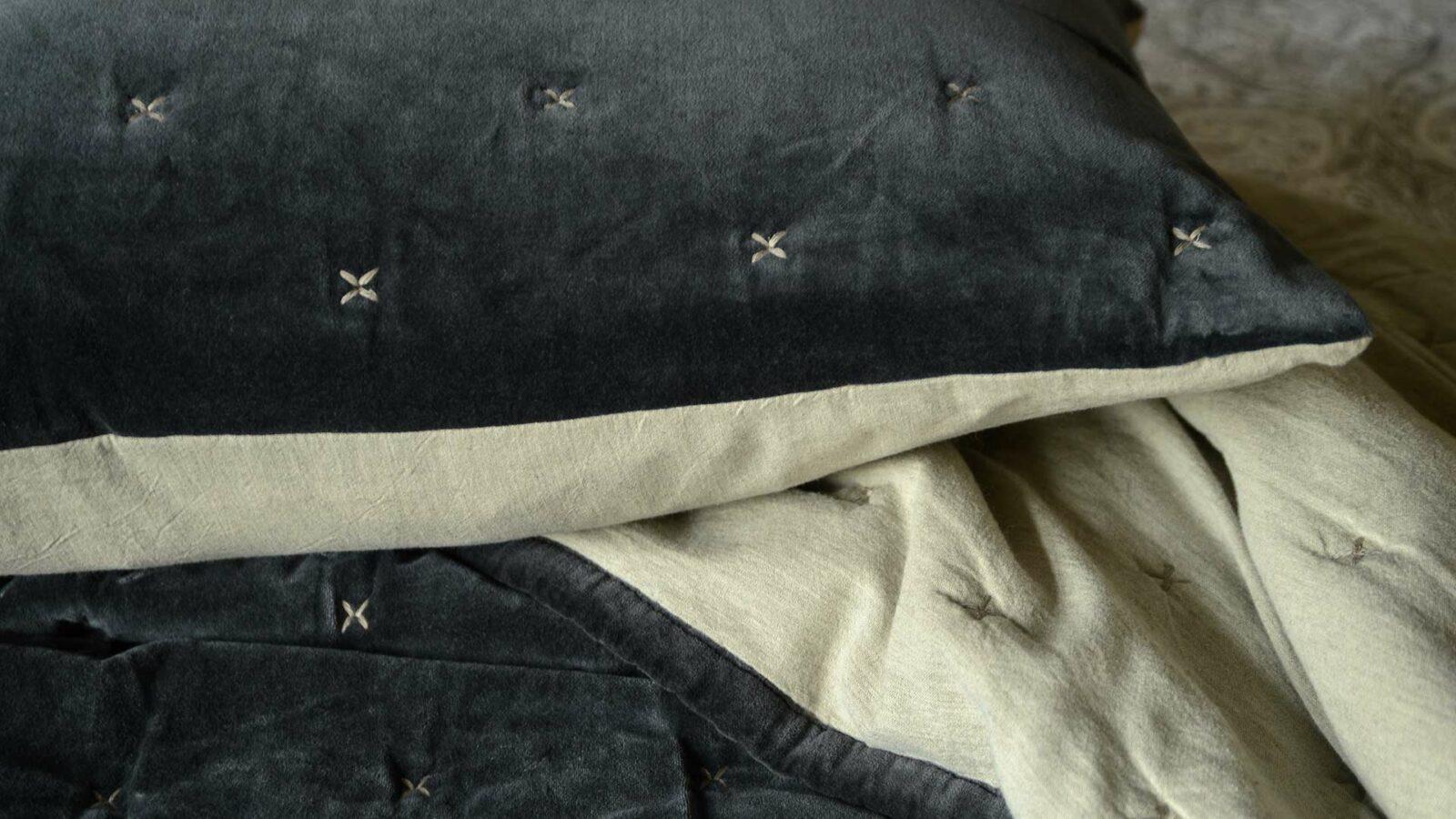 luxury grey velvet bedspread with stitch detail