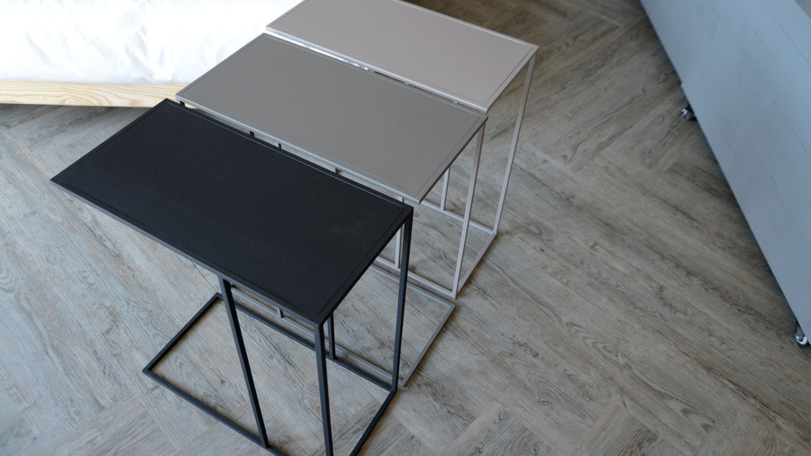 metal side tables in a choice of colours - for computer or breakfast in bed