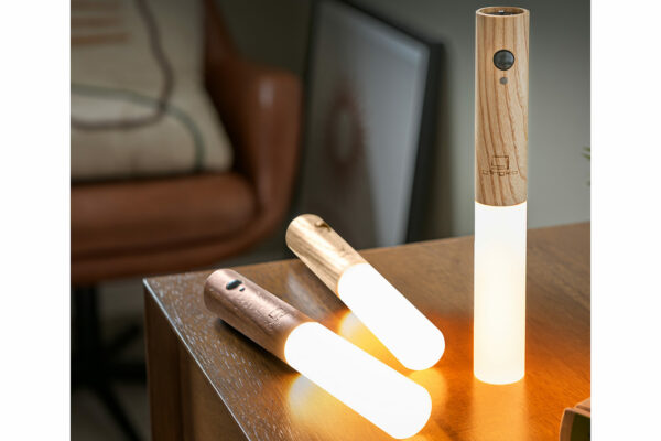 ash or walnut wood chargeable table or wall light with optional movement sensor, no wiring required