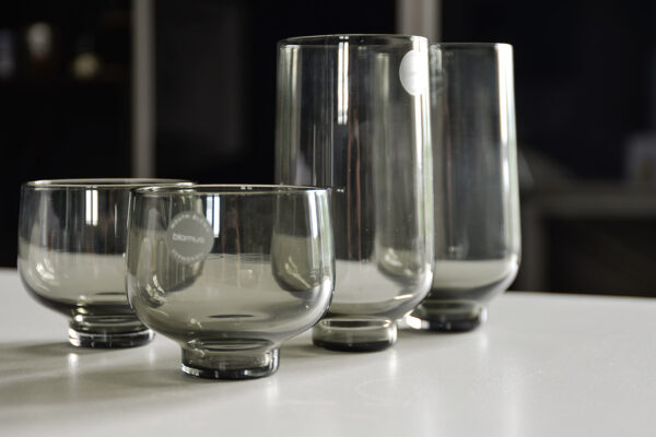 drinking glasses in smoke grey glass