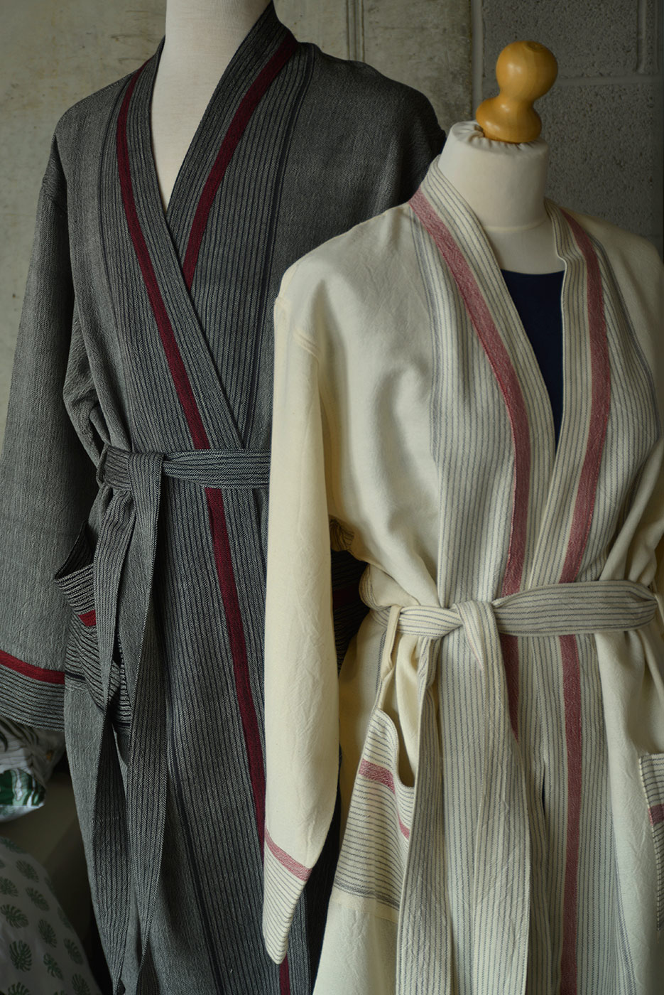 unisex soft cotton robes in grey and ivory