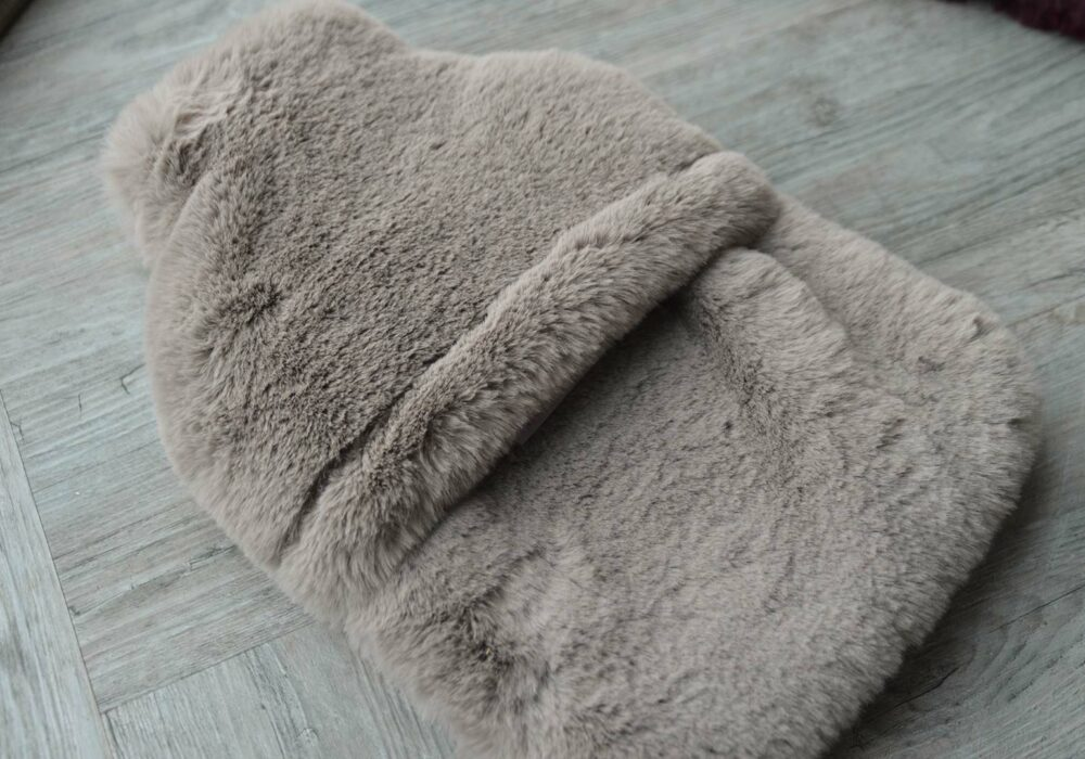 luxury softest faux fur hot water bottle in a cement grey colour