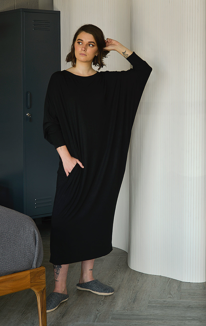 long sleeve drape dress