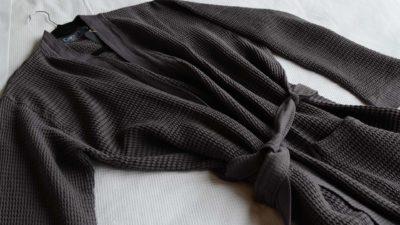 soft waffle bath-robe-slate