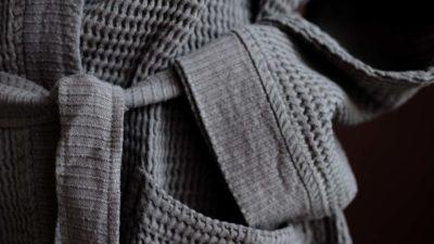 soft waffle-robe-waffle-fabric-slate-tie-detail