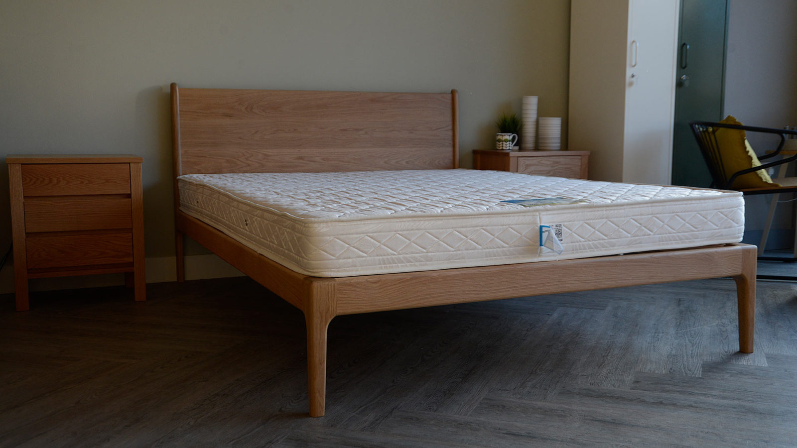 Camden a mid-century style solid oak handmade bed frame
