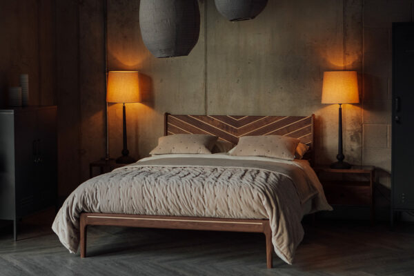 Special edition handcrafted solid wood bed in walnut and maple with Chevron design to the headboard