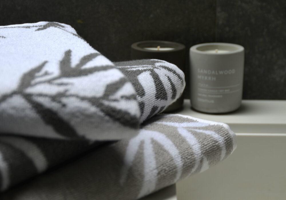 bamboo print towels in granite or warm silver grey
