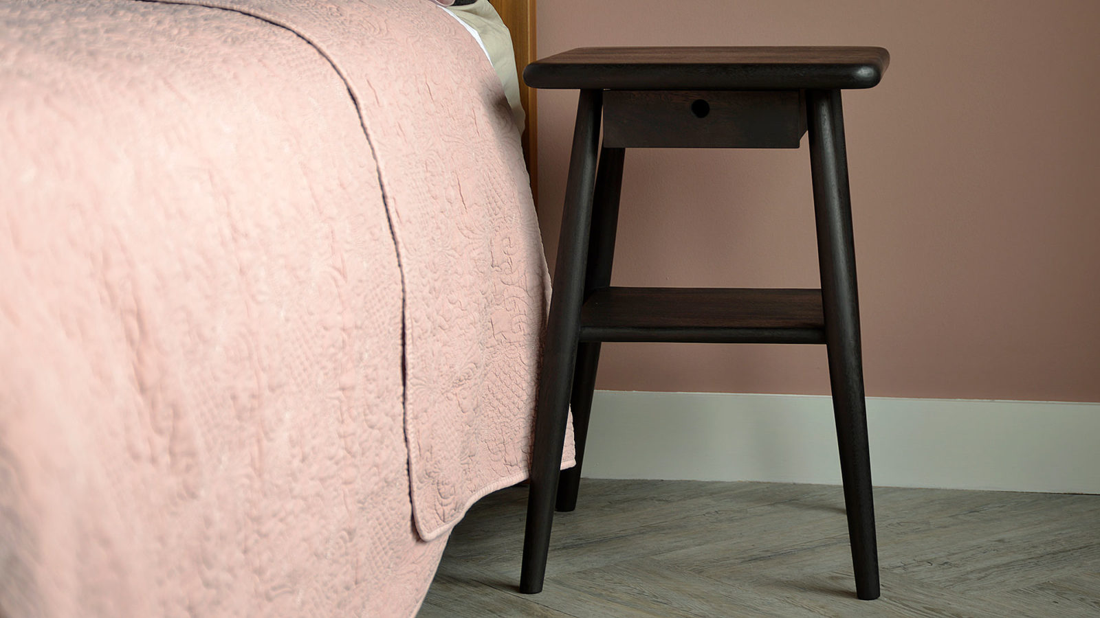 Stained Wooden Side Table - mid century look bedside tables