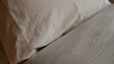 pale plaster pink stonewashed cotton bedding