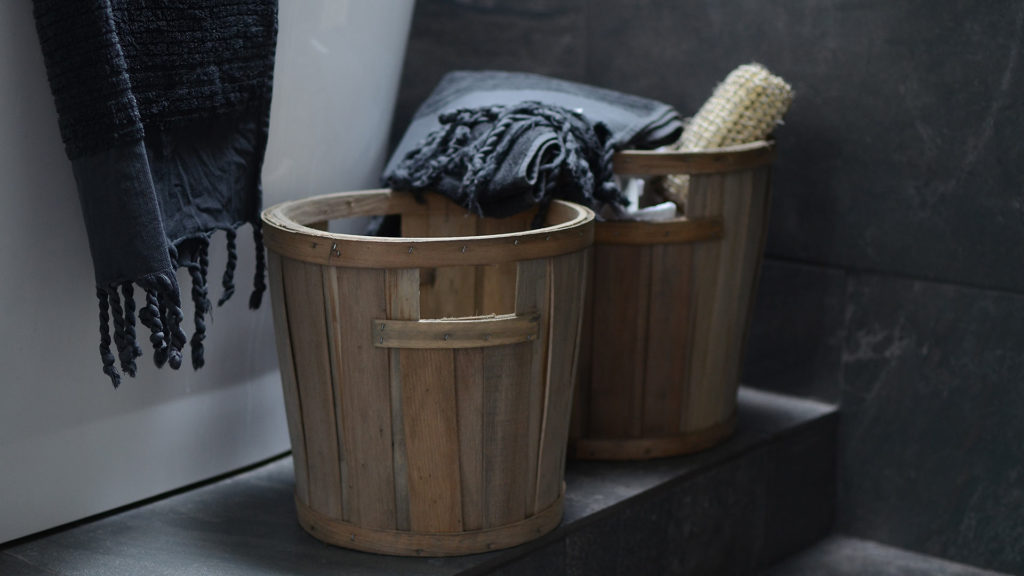 storage baskets with towels