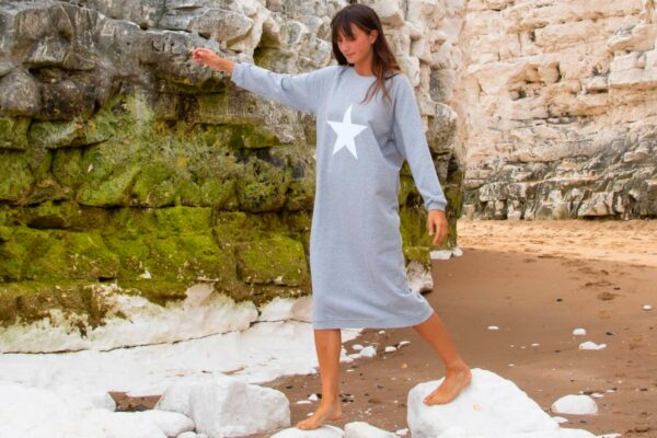 loose fitting sweatshirt dress in grey marl with star print