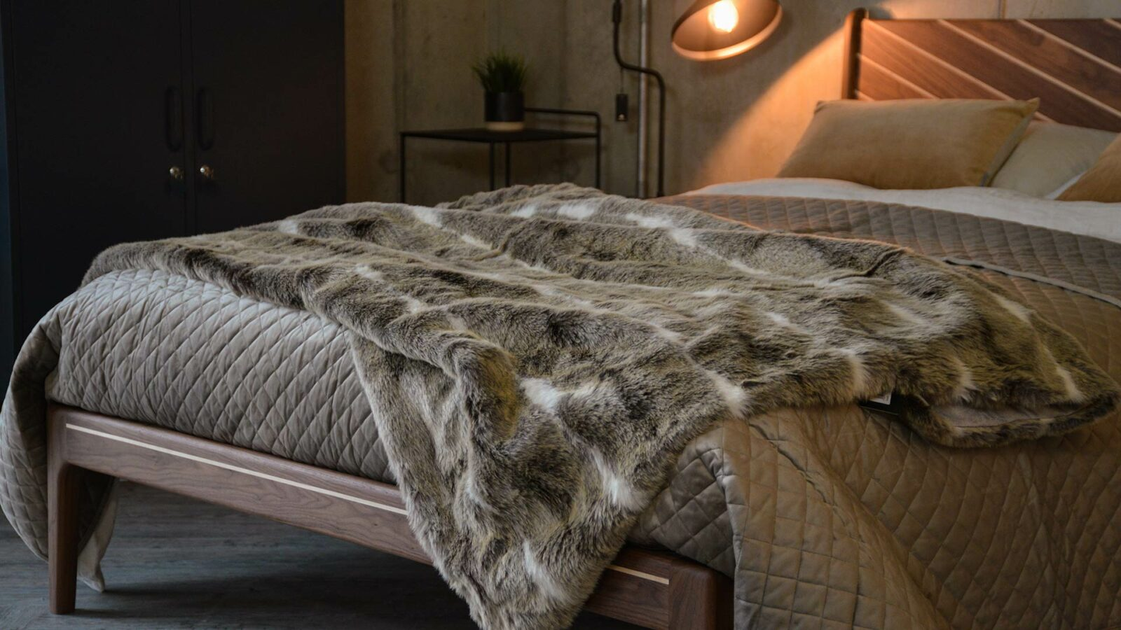 Taupe velvet look quilted and reversible bedspread on our Special edition walnut Hoxton bed
