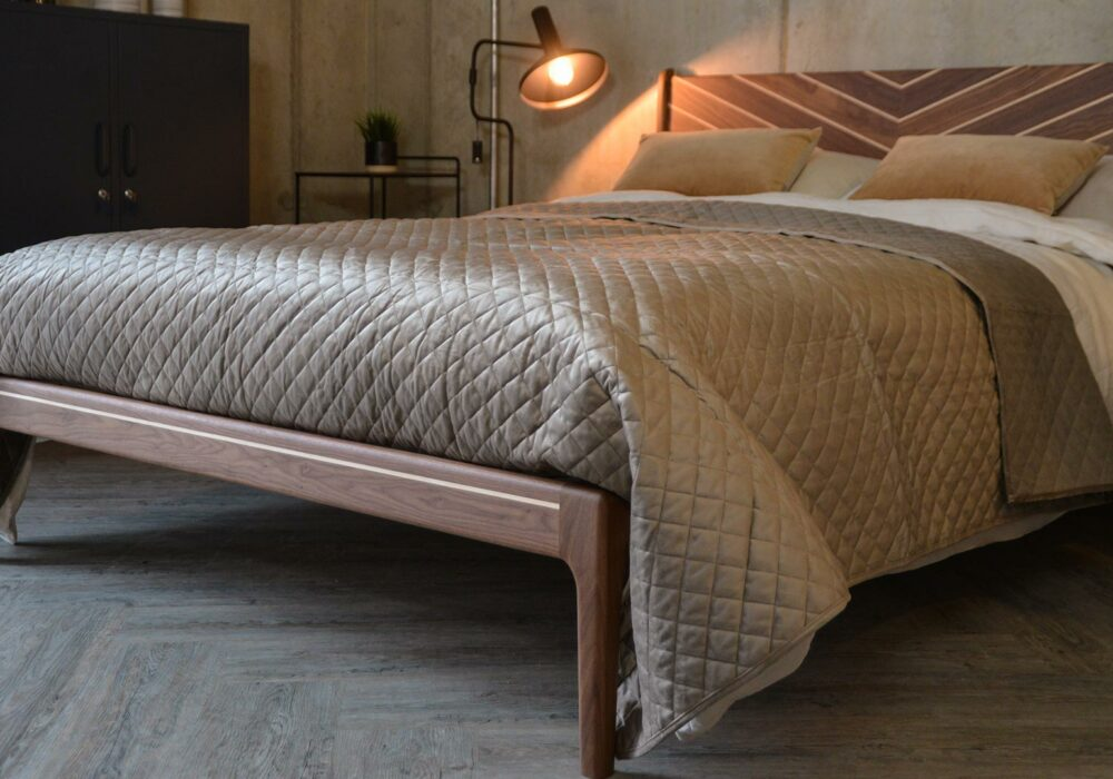 Taupe velvet look quilted and reversible bedspread on our Special edition handmade walnut Hoxton bed