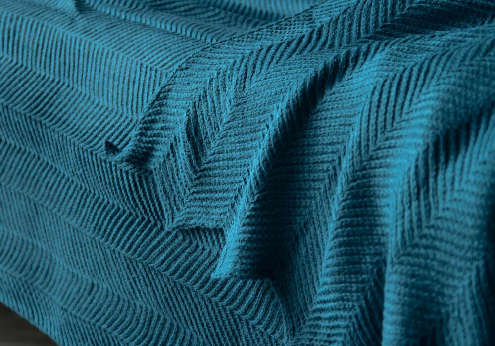 knitted deep teal throw