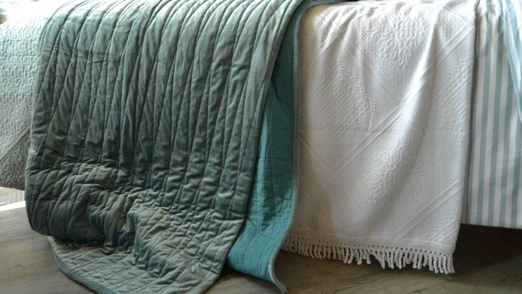 reversible teal bedspread