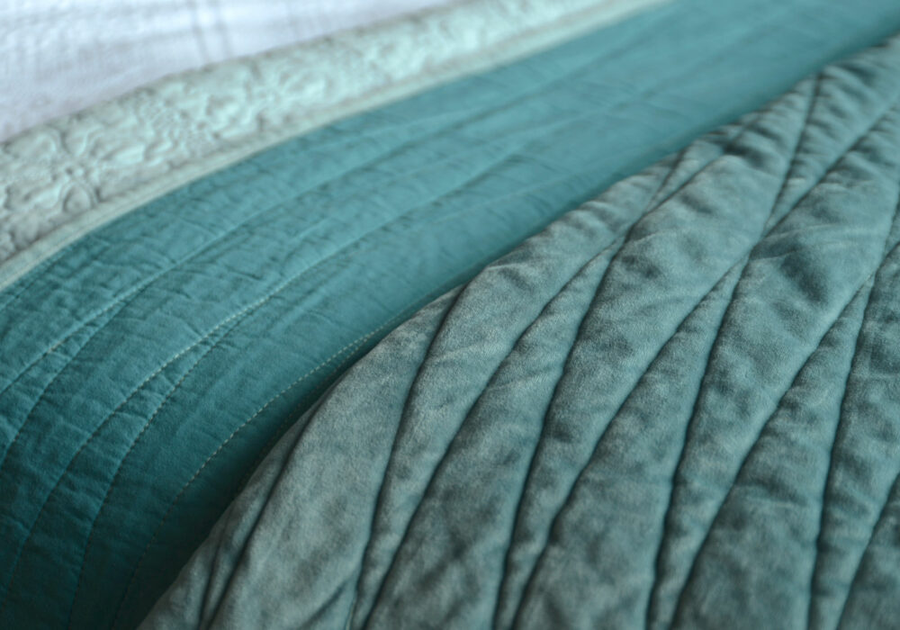 reversible teal quilt
