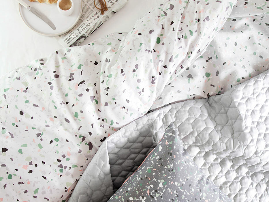 two sided terrazzo print duvet cover set