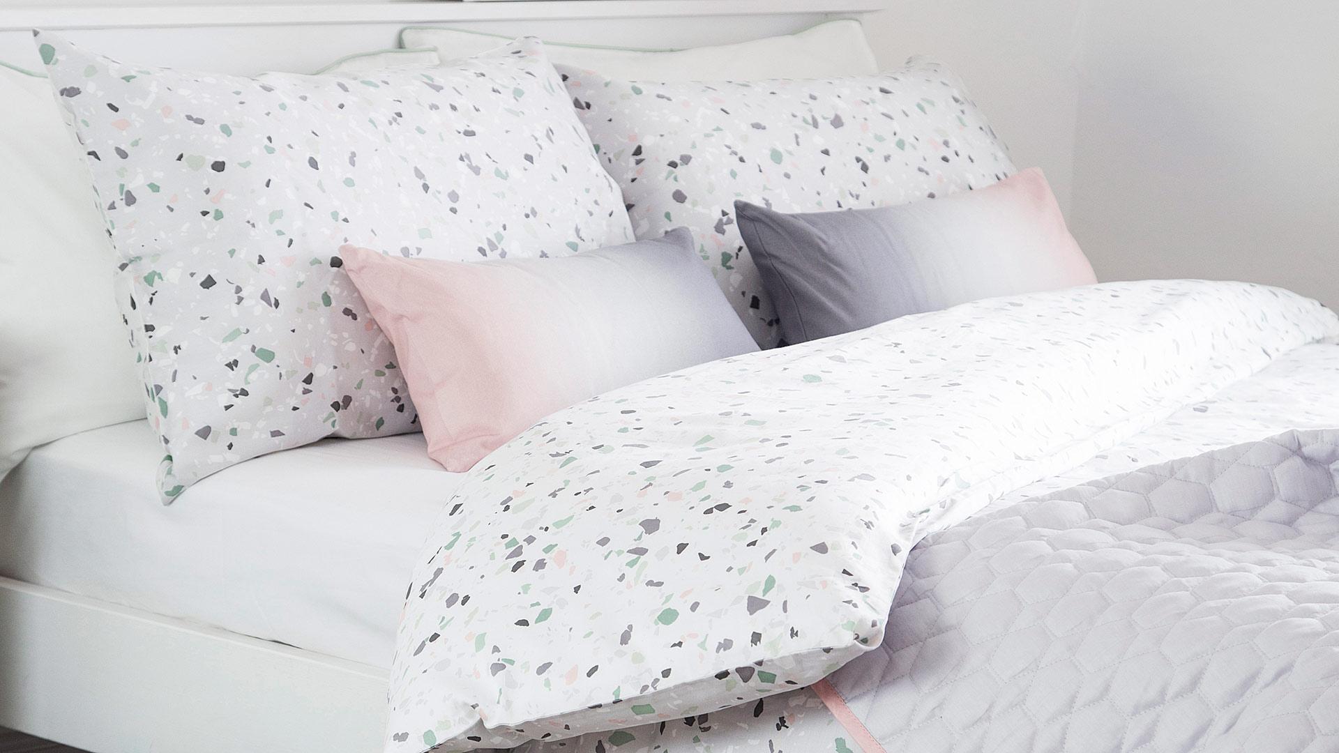 Terrazzo Pattern Duvet Set White Grey Natural Bed Company