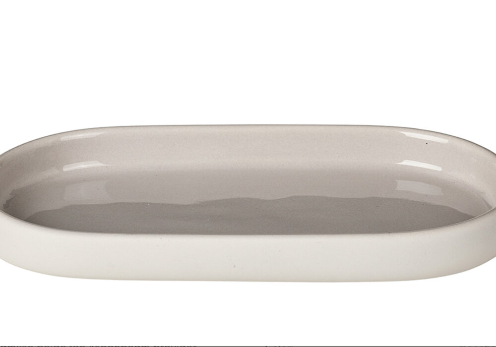 soft touch bathroom dish with glazed inner in pale clay colour