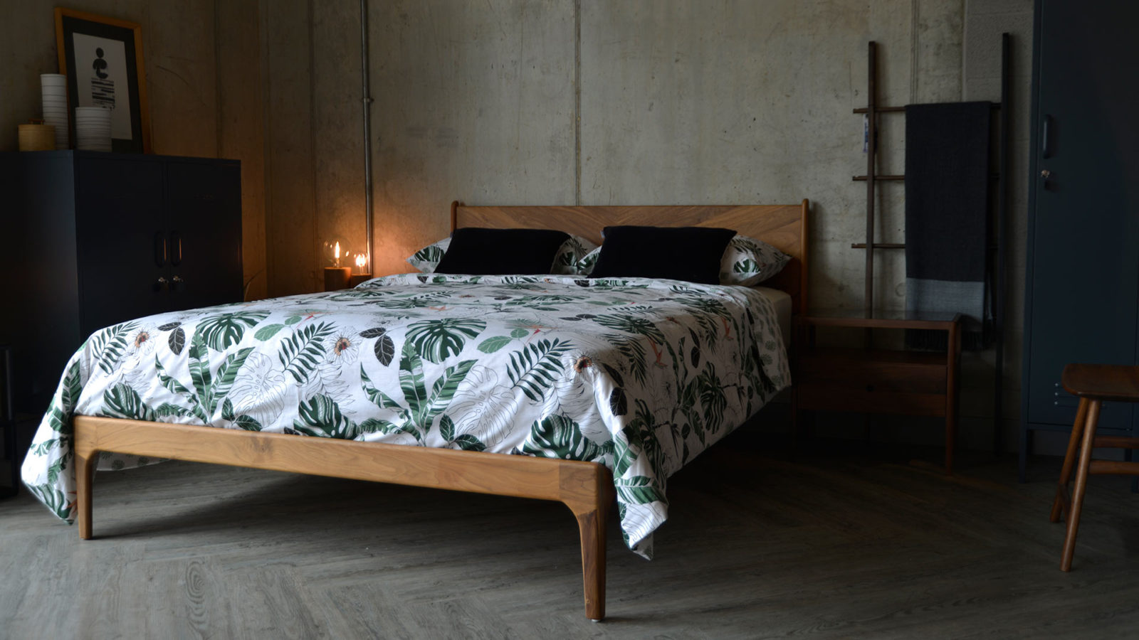 Solid wooden Hoxton bed in walnut wood, hand made by us in Sheffield UK.