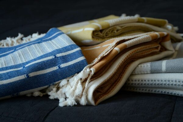 reversible woven Organic cotton Turkish throws in four colour options