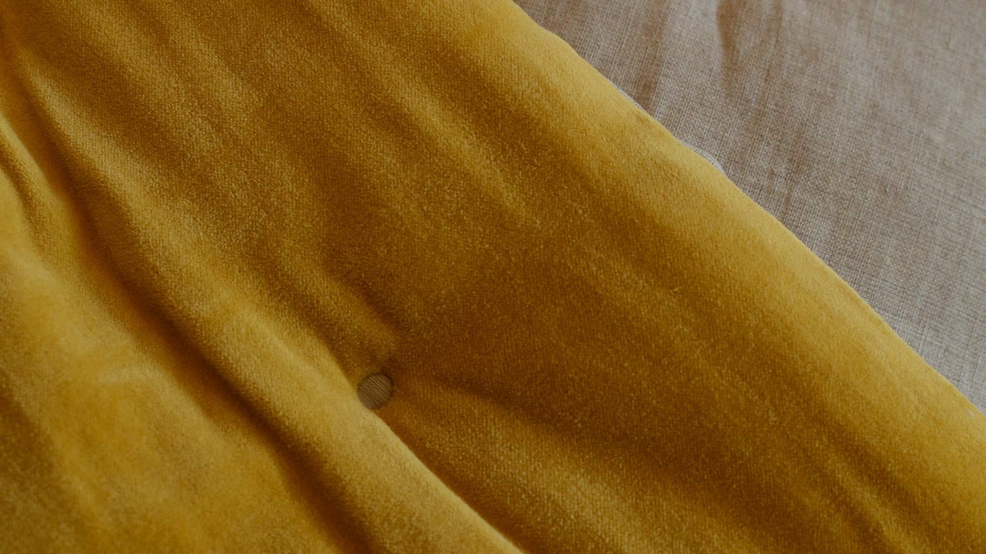 reversible bedspread - velvet and linen - turmeric