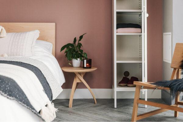 Twist small oak bedside table
